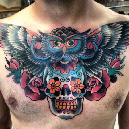 Owl skull chest tattoodenenasvalencia for Owl and sugar skull tattoo