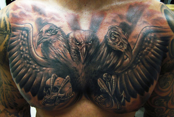 Grey Ink Large Hawk Chest Tattoo For Men