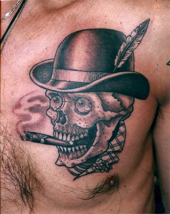grey ink skull with hat smoking chest tattoo. Black Bedroom Furniture Sets. Home Design Ideas