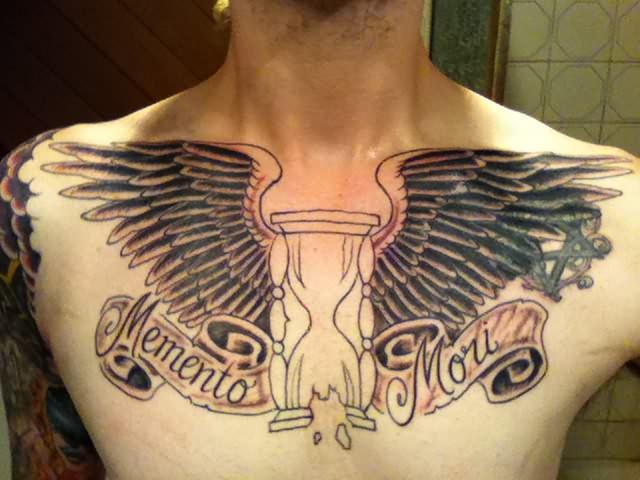 Hourglass Owl Tattoo On Men Chest