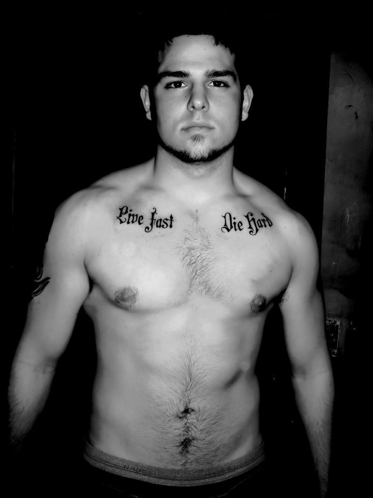 live fast die hard chest tattoo for men. Black Bedroom Furniture Sets. Home Design Ideas