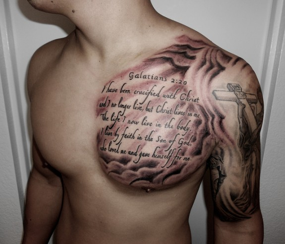 Scripture Tattoos With Cross