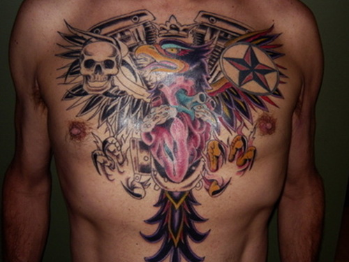 Winged colored heart chest tattoo for men for Color chest tattoos