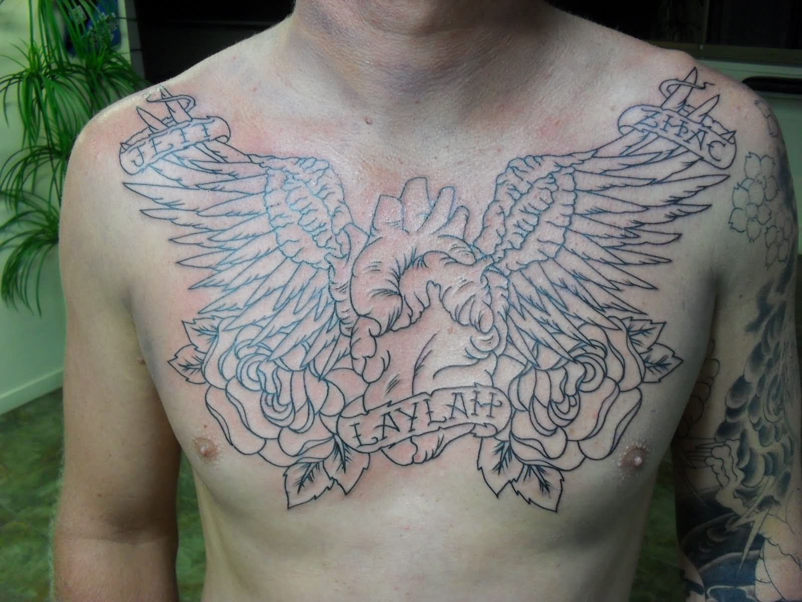 Winged Human Heart And Rose Flowers Chest Tattoo