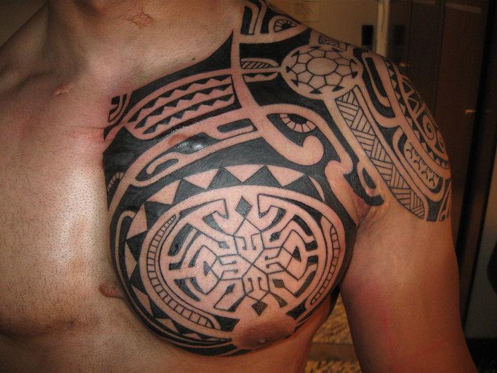 Black Ink Samoan Left Chest Tattoo