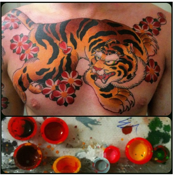 Chinese Tiger Color Ink Chest Tattoo