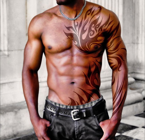 Cool tribal chest and sleeve tattoo for Chest and sleeve tattoo