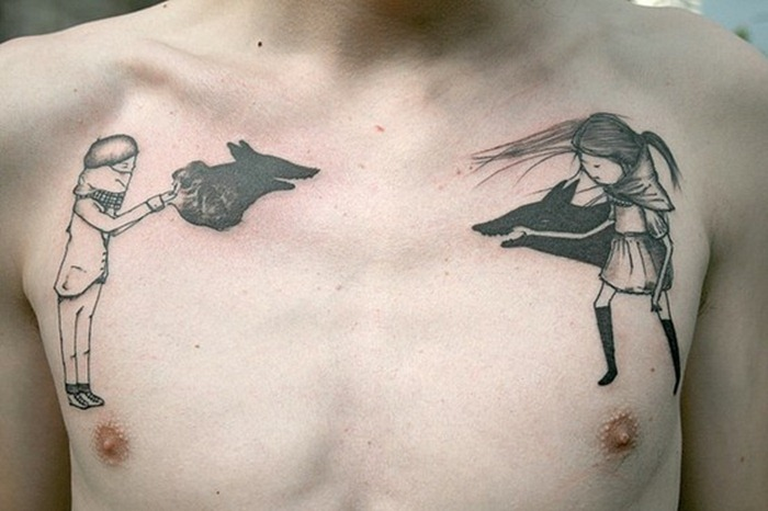 Girl and Boy with Fox Head Chest Tattoo
