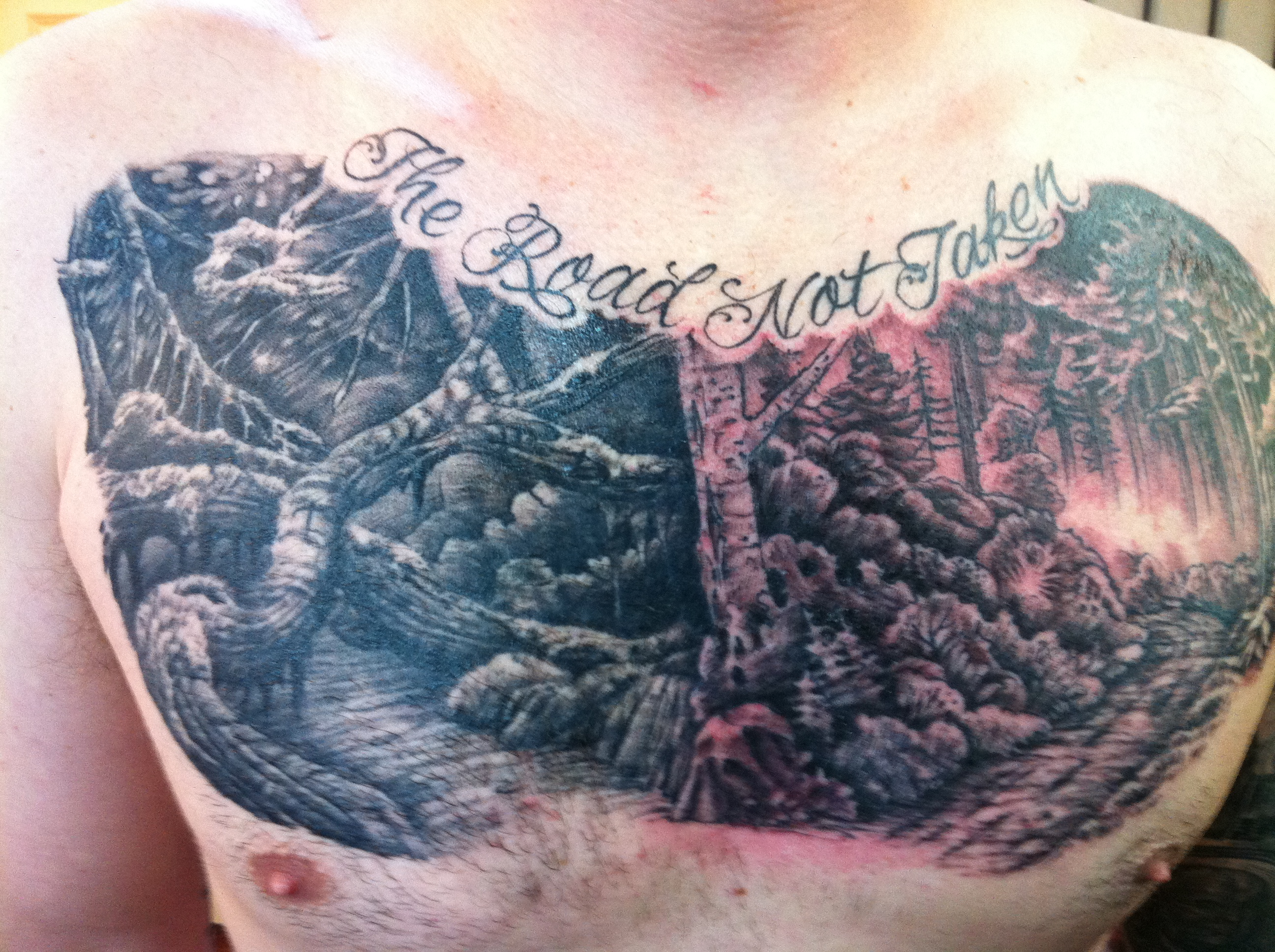 Grey Ink Forest Chest Tattoo For Men