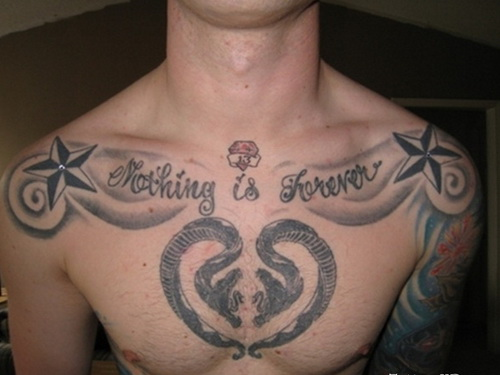 Nautical Stars And Nothing Is Forever Chest Snakes Tattoo