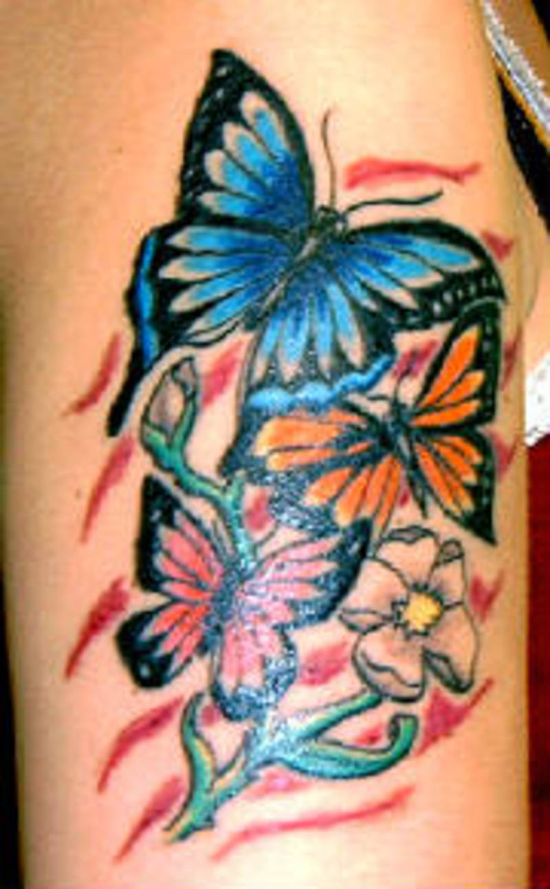 awesome colored butterflies tattoos on half sleeve. Black Bedroom Furniture Sets. Home Design Ideas