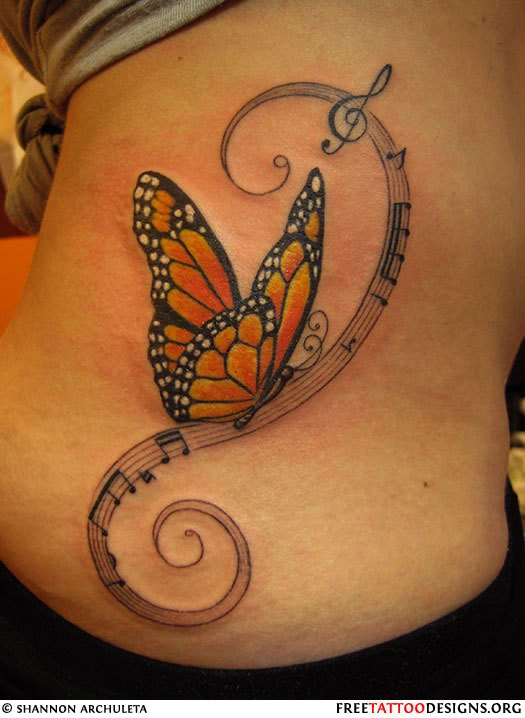 Awesome Colored Butterfly And Music Notes Tattoos On Side Rib