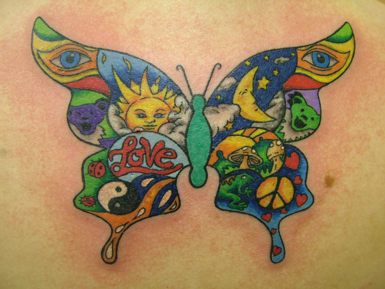 b4812a61481fe Awesome Colored Sun Moon Yin Yang And Animals In Butterfly Tattoo