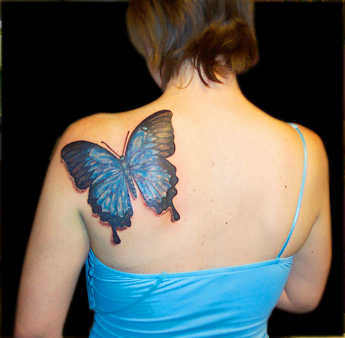 606a1a56feacc Black Rose And Blue Ink Butterfly Tattoo On Right Back Shoulder