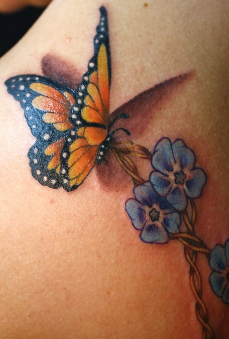 Blue Flower And Butterfly Tattoo