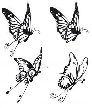 Flying Butterfly Silhouette Tattoo