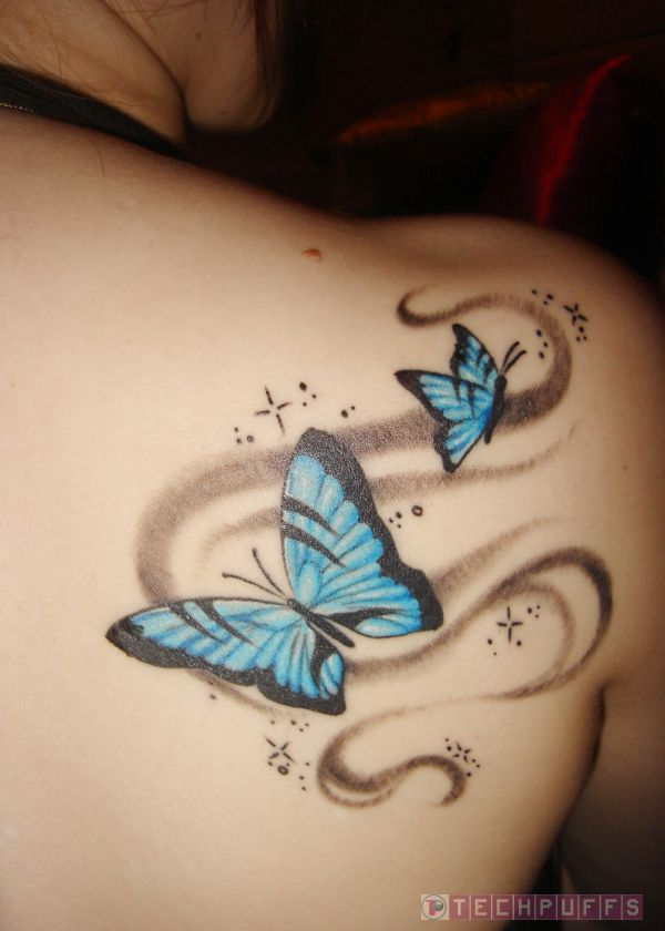 Butterfly Tattoo On Shoulder For Girls