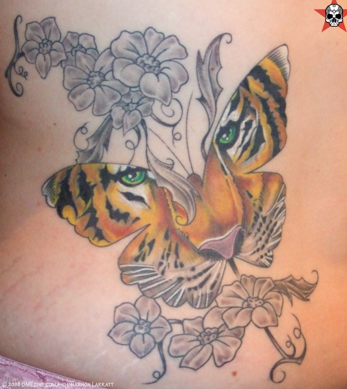 Tiger Tattoos And Flower: Grey Flowers And Tiger Butterfly Tattoo