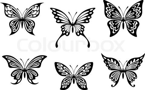 Grey Ink Butterflies Tattoo Design