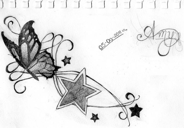 16d2bdbbc Grey Ink Stars And Butterfly Tattoo Design
