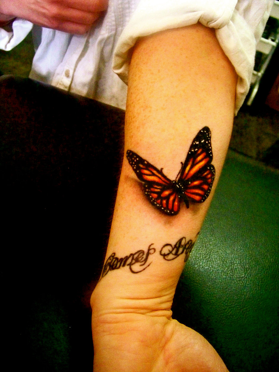 left arm 3d color ink butterfly tattoo. Black Bedroom Furniture Sets. Home Design Ideas