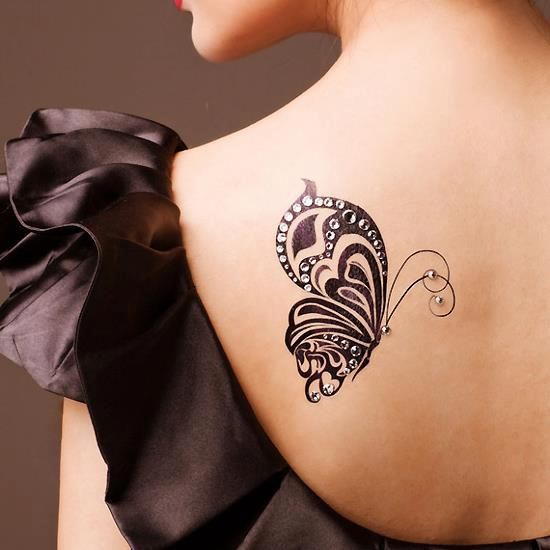 Left back shoulder butterfly tattoo for girls for Tattoos for girls on back