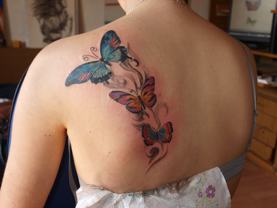 Left Back Shoulder Colored Butterfly Tattoos For Girls