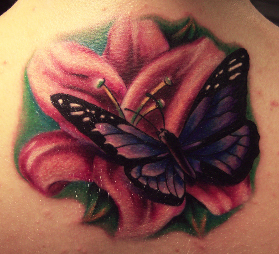 Lily Flower And Butterfly Tattoo