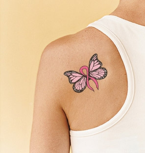 pink ribbon butterfly tattoo on left back shoulder. Black Bedroom Furniture Sets. Home Design Ideas