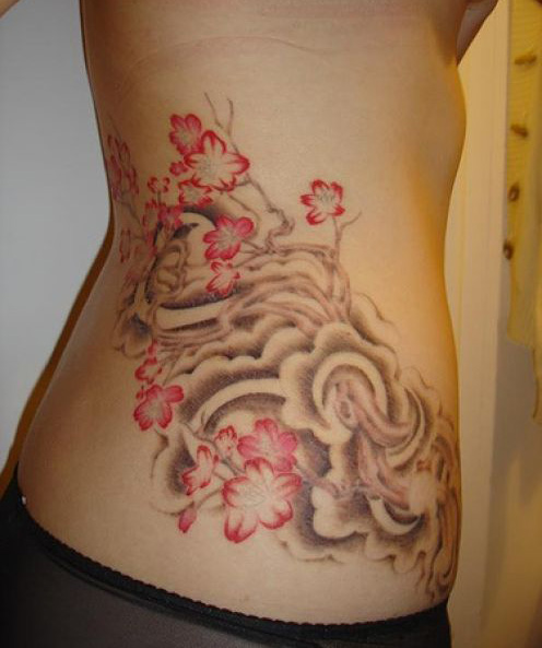 Red Flowers And Butterfly Tattoo On Side 2014