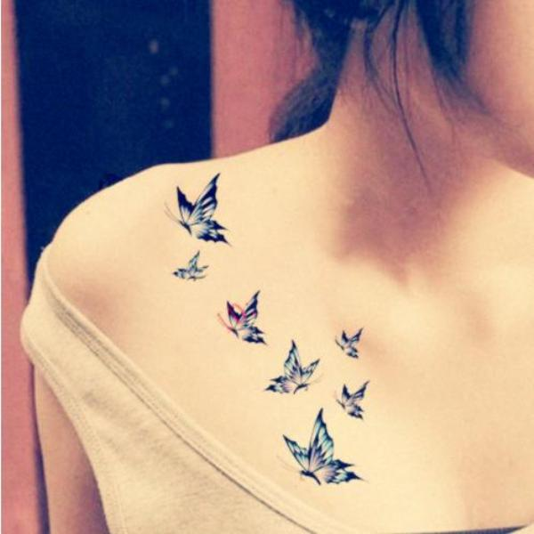 Butterfly Chest Tattoos For Women Small Flying Bu...