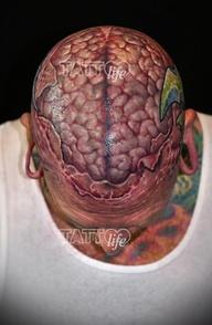 Biomechanical Brain Tattoo On HeadBrain Head Tattoos