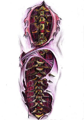 Biomechanical Spinal Cord Tattoo Design African Lion Footprints