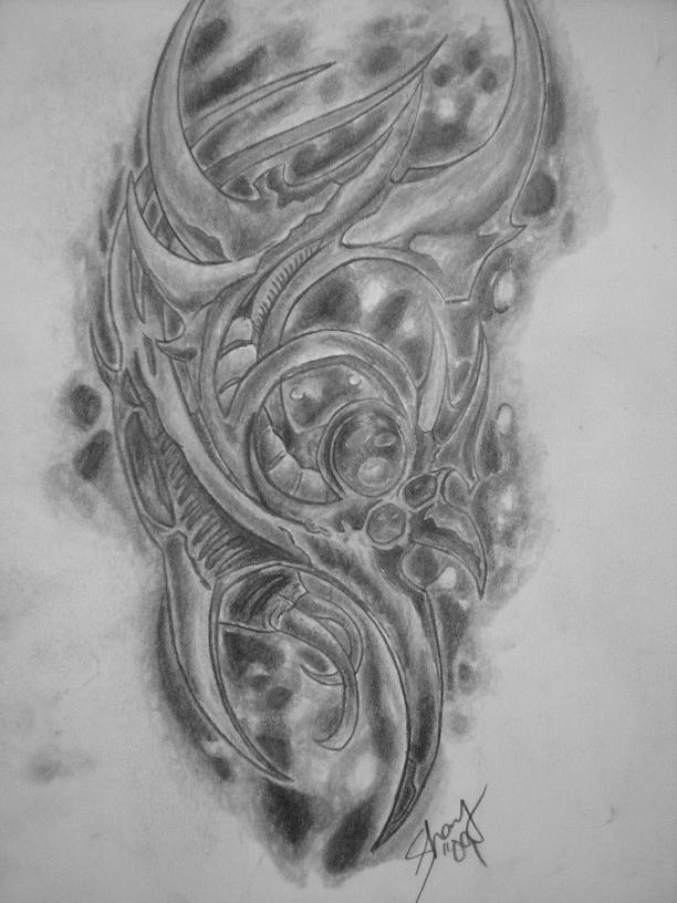 Biomechanical Tattoo On Man Left Back ShoulderBiomechanical Gears Drawings