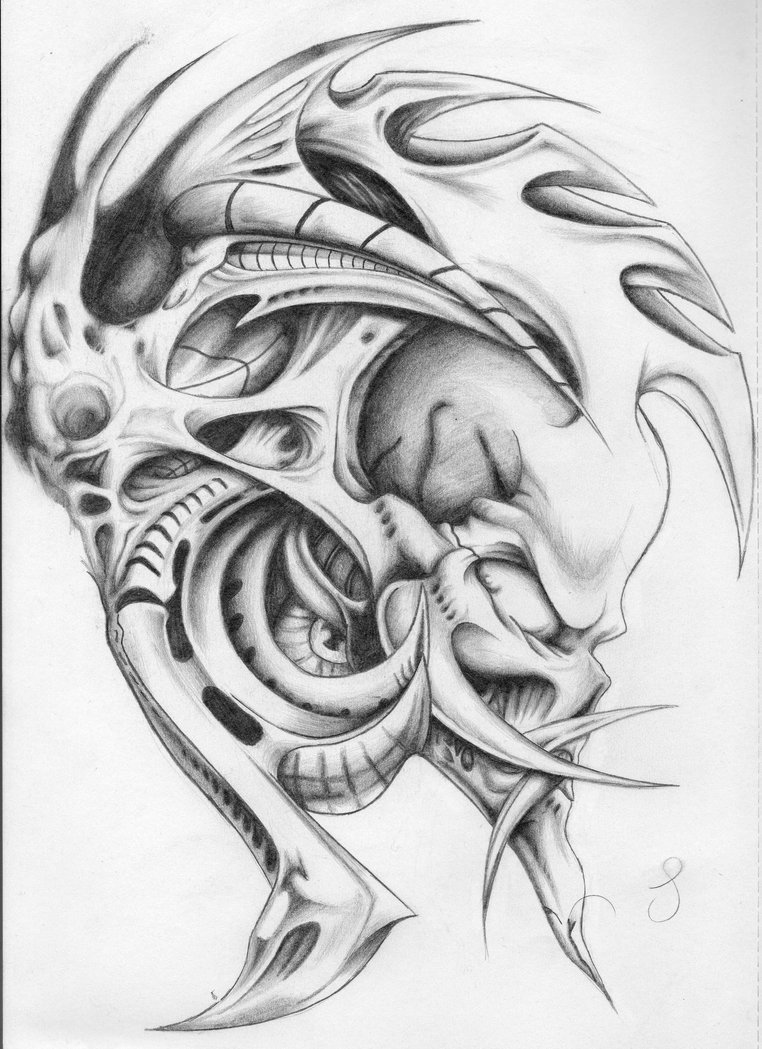 Biomechanical tattoos designs - Good Grey Ink Biomechanical Tattoo Design
