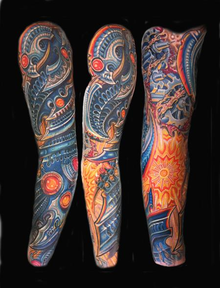 Beautiful Colored Biomechanical Tattoo Design
