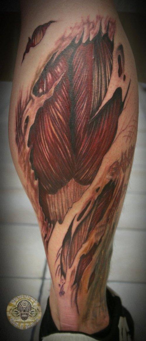 Mind Blowing Biomechanical Tattoo On Man Left Half Sleeve