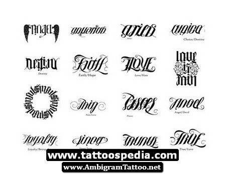 ambigram words tattoo designs for men
