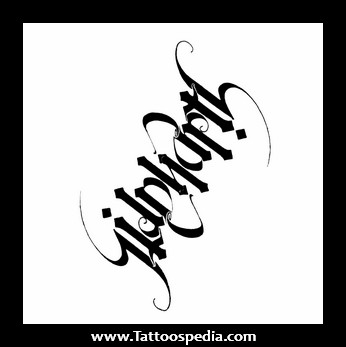 Black Ink Ambigram Tattoo Design