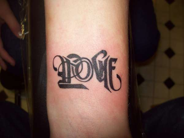 Love Hate Ambigram Tattoo