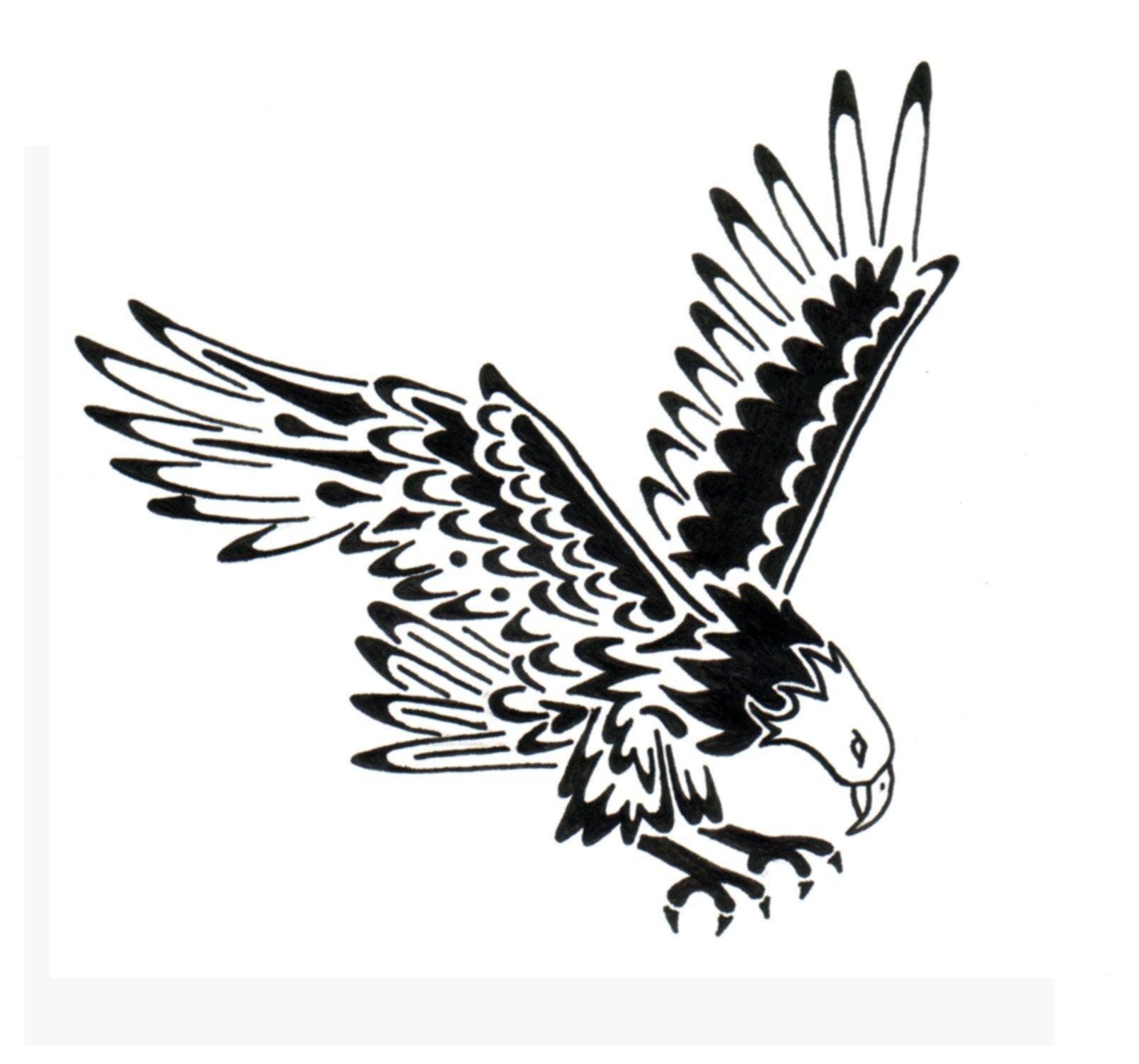 Black eagle back tattoo