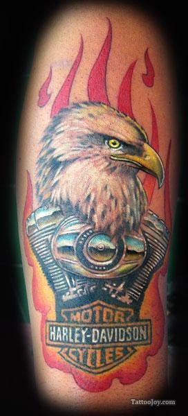 awful harley davidson eagle head tattoo. Black Bedroom Furniture Sets. Home Design Ideas