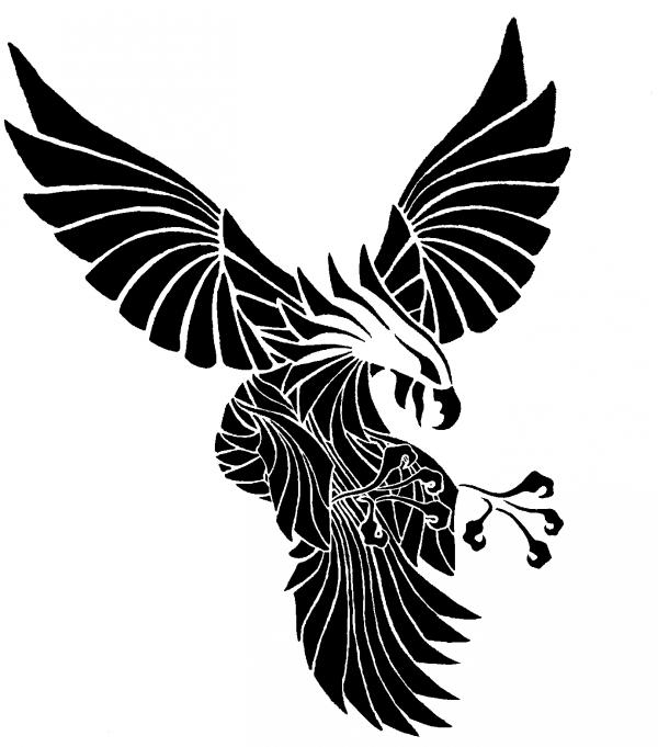 Black Ink Flying Eagle Tattoo Design