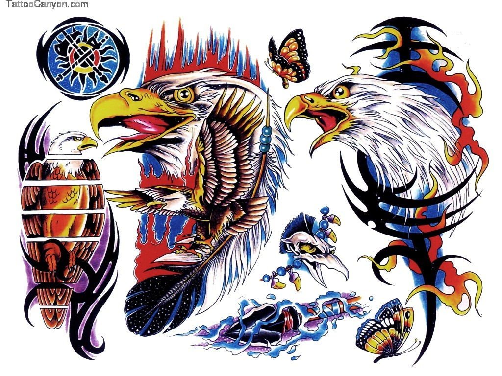 Tribal Tattoo With Color: Colored Eagle And Tribal Tattoo Designs