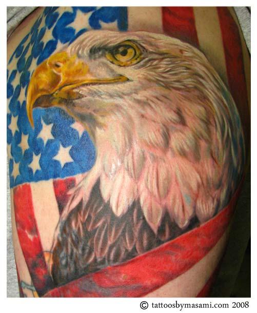Colored eagle head tattoo for American flag eagle tattoo