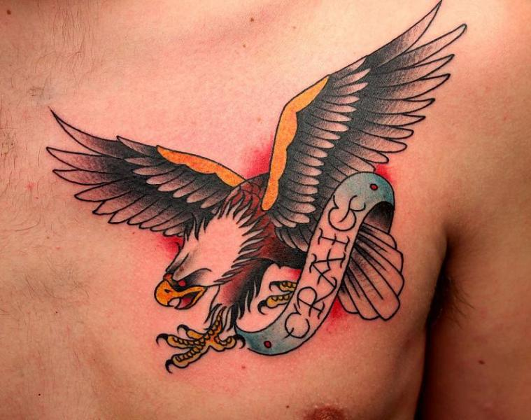 Colored Flying Eagle Tattoo On Chest