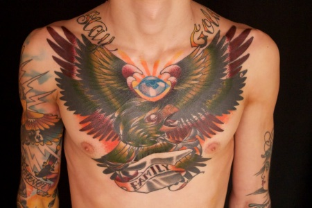 Cool Colored Ink Eagle Tattoo On Chest