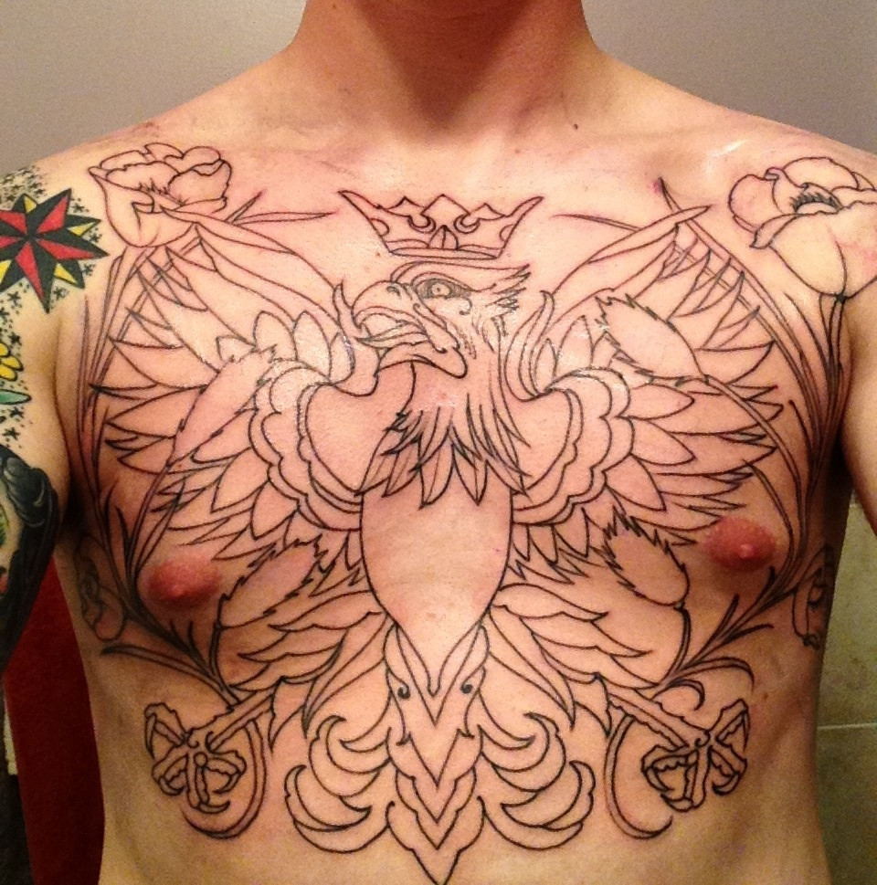 Crown Outline Eagle Tattoo On Man Chest