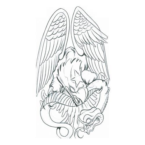 Eagle Tattoo Line Drawing : Eagle with snake tattoo design