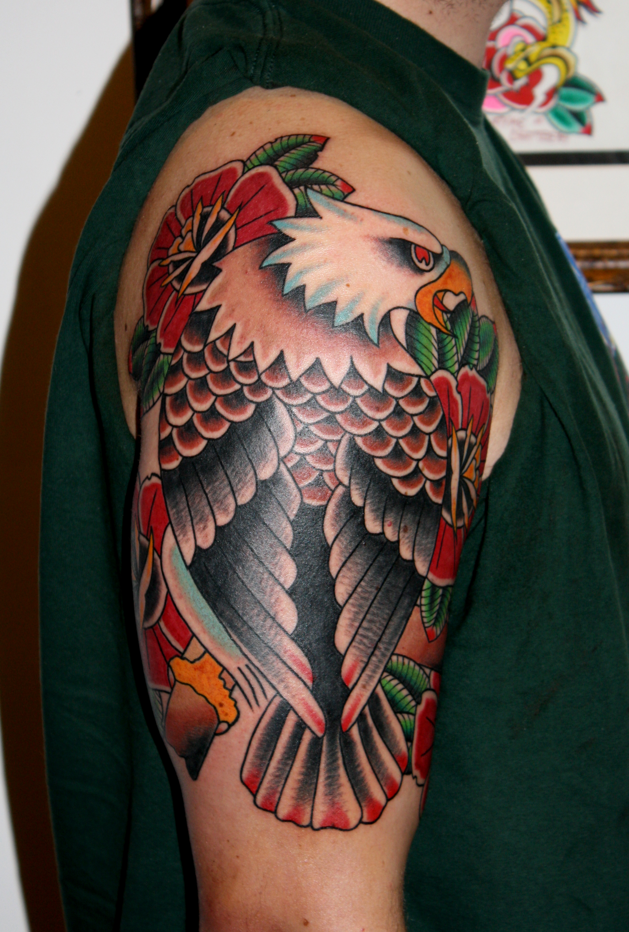 fine colored right half sleeve eagle tattoo. Black Bedroom Furniture Sets. Home Design Ideas
